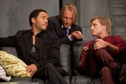 Lenny Kravitz, Josh Hutcherson & Woody Harrelson.