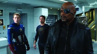 Samuel L. Jackson, Chris Evans & Robert Downey, Jr.