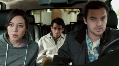 Aubrey Plaza, Jake Johnson & Karan Soni.